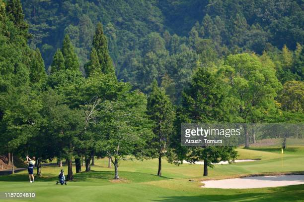 Rasmus Hjelm of Sweden hits his second shot on the 1st hole during the third round of the Toyota Junior Golf World Cup at Chukyo Golf Club Ishino...