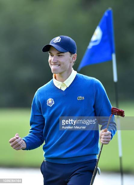 Rasmus Hojgaard of Team Europe reacts during the fourballs on day one of the 2018 Junior Ryder Cup at Disneyland Paris on September 24 2018 in Paris...