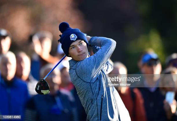 David Puig of Team Europe during the singles on day two of the 2018 Junior Ryder Cup at Disneyland Paris on September 25 2018 in Paris France