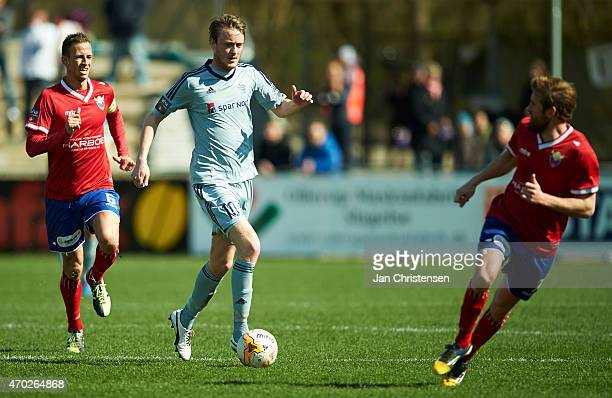 Rasmus Jonsson of AaB Aalborg controls the ball during the Danish Alka Superliga match between FC Vestsjalland and AaB Aalborg at Harboe Arena...