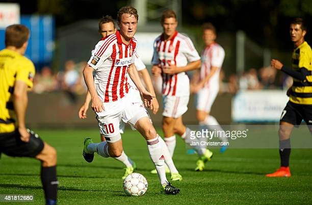 Rasmus Jonsson of AaB Aalborg controls the ball during the Danish Alka Superliga match between Hobro IK and AaB Aalborg at DS Arena on July 24 2015...