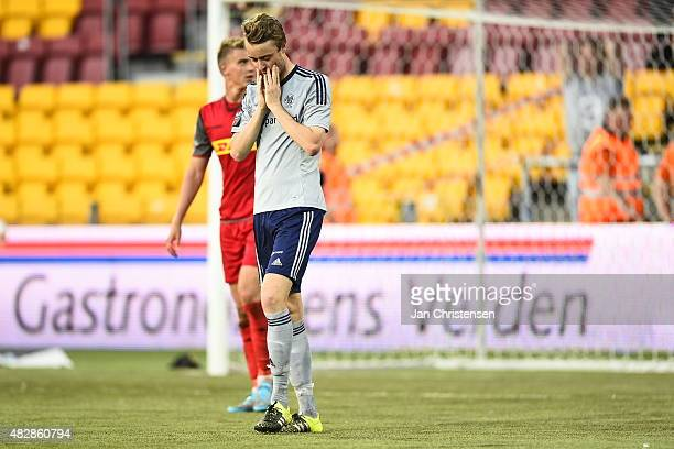 Rasmus Jonsson of AaB Aalborg looks dejected after missed goal during the Danish Alka Superliga match between FC Nordsjalland and AaB Aalborg at...