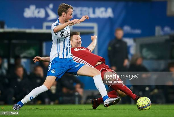 Rasmus Jonsson of OB Odense and Jan Gregus of FC Copenhagen compete for the ball during the Danish Alka Superliga match between OB Odense and FC...