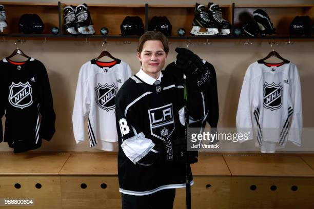 Rasmus Kupari after being selected twentieth overall by the Los Angeles Kings poses for a portrait during the first round of the 2018 NHL Draft at...