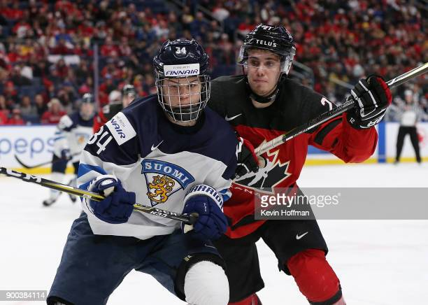 Rasmus Kupari of Finland and Brett Howden of Canada during the second period at KeyBank Center on December 26 2017 in Buffalo New York