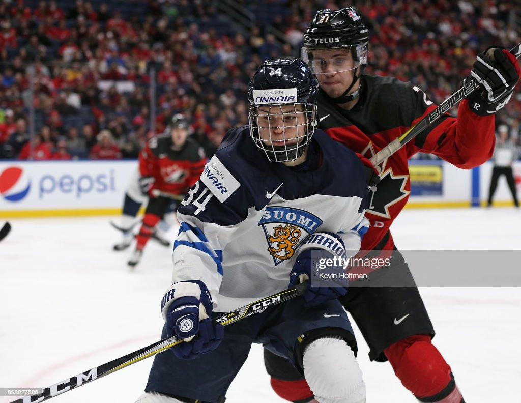Rasmus Kupari #34 of Finland and Brett Howden #21 of Canada fight for position during the second period at KeyBank Center on December 26, 2017 in Buffalo, New York.