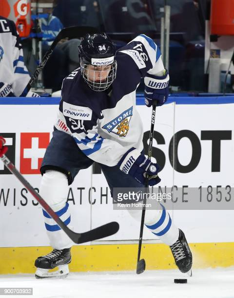 Rasmus Kupari of Finland in the second period against Denmark during the IIHF World Junior Championship at KeyBank Center on December 28 2017 in...