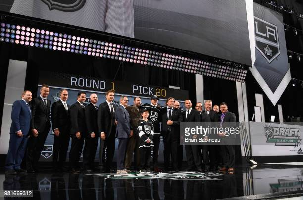 Rasmus Kupari poses for a photo onstage after being selected twentieth overall by the Los Angeles Kings during the first round of the 2018 NHL Draft...