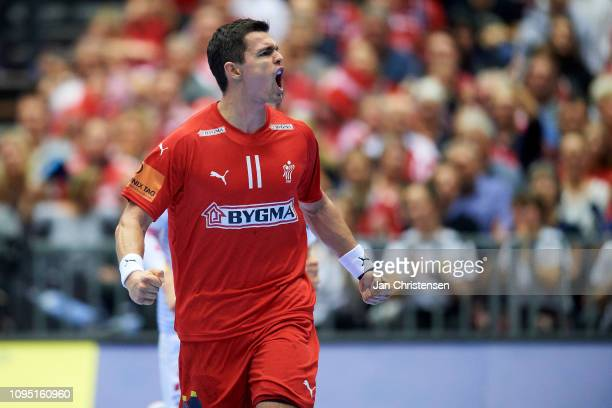 Rasmus Lauge of Denmark celebrate after goal during the IHF Men's World Championships Handball match between Austria and Denmark in Jyske Bank Boxen...