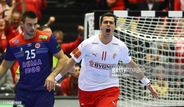 Rasmus Lauge of Denmark celebrates scoring a goal during the 26th IHF Men's World Championship final between Norway and Denmark at Jyske Bank Boxen...