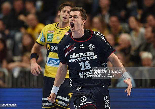 Rasmus Lauge of SG Flensburg Handewitt celebrates during the DKB HBL Bundesliga match between RheinNeckar Loewen and SG Flensburg Handewitt at SAP...