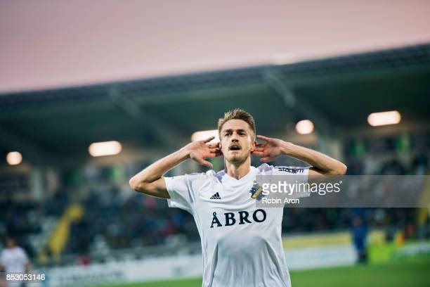 Rasmus Lindkvist of AIK celebrates after scoring 16 during the Allsvenskan match between BK Hacken and AIK at Bravida Arena on September 24 2017 in...