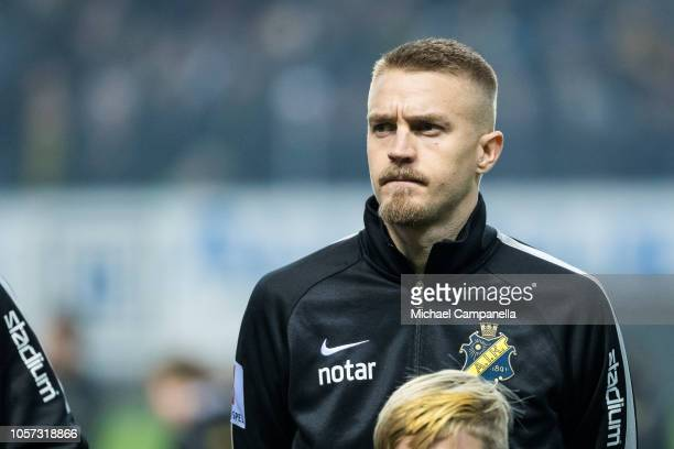 Rasmus Lindkvist of AIK during an Allsvenskan match between AIK and GIF Sundsvall at Friends Arena on November 4 2018 in Stockholm Sweden