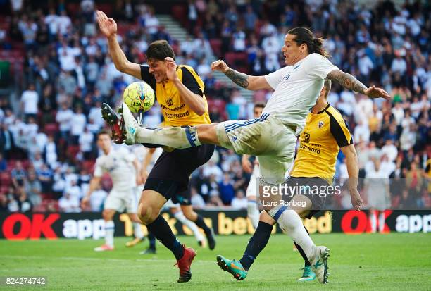 Rasmus Minor Petersen of Hobro IK and Federico Santander of FC Copenhagen compete for the ball during the Danish Alka Superliga match between FC...