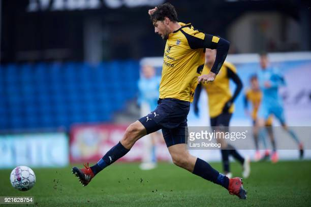 Rasmus Minor Petersen of Hobro IK controls the ball during the Danish Alka Superliga match between Randers FC and Hobro IK at BioNutria Park on...
