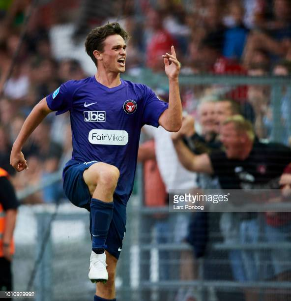 Rasmus Nicolaisen of FC Midtjylland celebrates after scoring their second goal during the Danish Superliga match between Vejle Boldklub and FC...