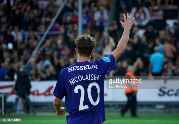 Rasmus Nicolaisen of FC Midtjylland celebrates with the fans after the Danish Superliga match between Vejle Boldklub and FC Midtjylland at Vejle...