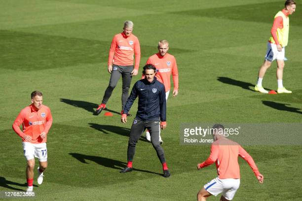Rasmus Nicolaisen of Portsmouth FC in the warm-up before the Sky Bet League One match between Portsmouth and Wigan Athletic at Fratton Park on...
