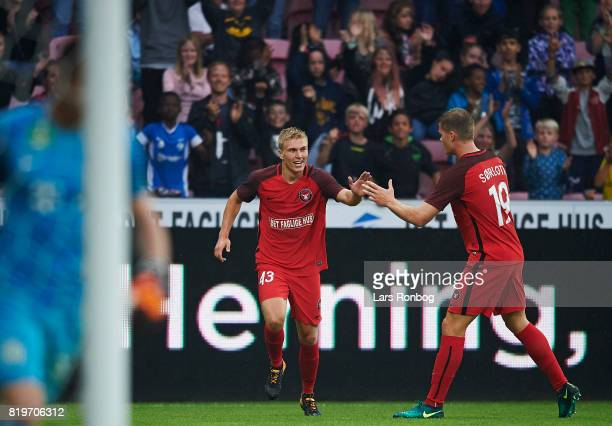 Rasmus Nissen and Alexander Sorloth of FC Midtjylland celebrate after scoring their second goal during the UEFA Europa League Qualification match...