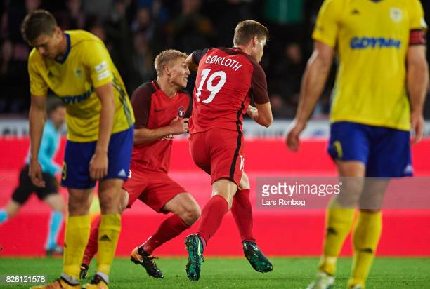 Rasmus Nissen and Alexander Sorloth of FC Midtjylland celebrate after scoring their second goal during the UEFA Europa League Qualification 3rd round...
