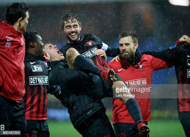 Rasmus Nissen and Jakob Poulsen of FC Midtjylland celebrate after the Danish Alka Superliga match between Randers FC and FC Midtjylland at BioNutria...