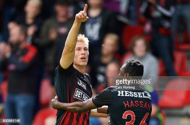 Rasmus Nissen and Rilwan Hassan of FC Midtjylland celebrate after scoring their second goal during the Danish Alka Superliga match between FC...