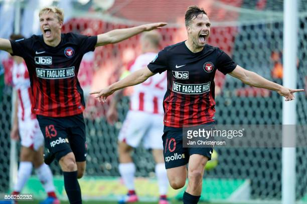 Rasmus Nissen of FC Midtjylland and Filip Novak of FC Midtjylland celebrate after the 30 goal from Filip Novak during the Danish Alka Superliga match...