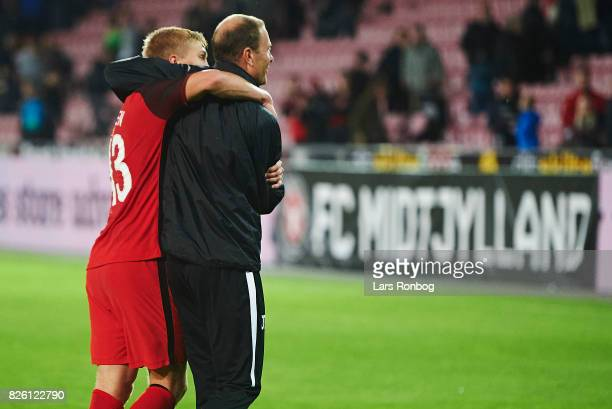 Rasmus Nissen of FC Midtjylland and Jess Thorup head coach of FC Midtjylland celebrate after the UEFA Europa League Qualification 3rd round 2th leg...