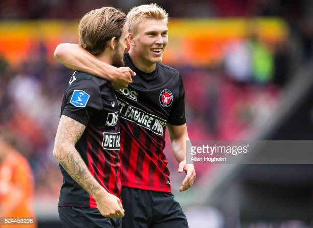Rasmus Nissen of FC Midtjylland and Kian Hansen of FC Midtjylland celebrates after scoring their first goal during the Danish Alka Superliga match...