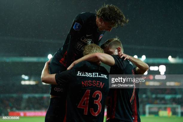 Rasmus Nissen of FC Midtjylland and team mates celebrate his 10 goal during the Danish Alka Superliga match between FC Midtjylland and AGF Arhus at...