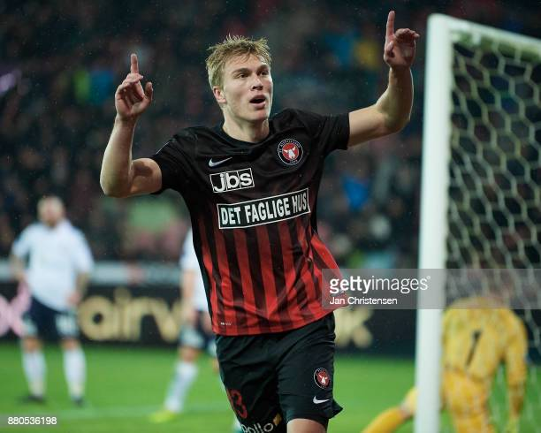 Rasmus Nissen of FC Midtjylland celebrate after his 10 goal during the Danish Alka Superliga match between FC Midtjylland and AGF Arhus at MCH Arena...
