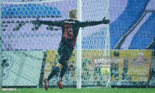 Rasmus Nissen of FC Midtjylland celebrates after scoring their first goal during the Danish Alka Superliga match between Randers FC and FC...