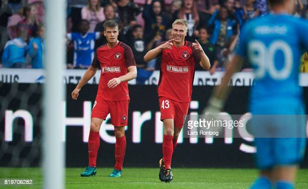 Rasmus Nissen of FC Midtjylland celebrates after scoring their second goal during the UEFA Europa League Qualification match between FC Midtjylland...