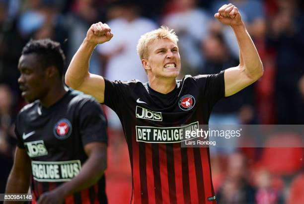 Rasmus Nissen of FC Midtjylland celebrates after scoring their second goal during the Danish Alka Superliga match between FC Midtjylland and FC...