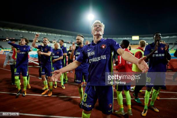 Rasmus Nissen of FC Midtjylland celebrates after the Danish Alka Superliga match between AGF Aarhus and FC Midtjylland at Ceres Park on September 25...