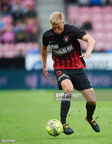 Rasmus Nissen of FC Midtjylland controls the ball during the Danish Alka Superliga match between FC Midtjylland and Silkeborg IF at MCH Arena on July...