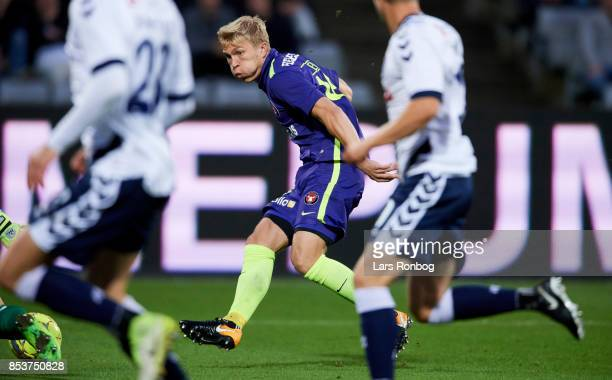 Rasmus Nissen of FC Midtjylland in action during the Danish Alka Superliga match between AGF Aarhus and FC Midtjylland at Ceres Park on September 25...