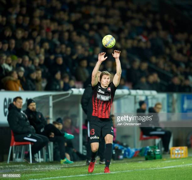 Rasmus Nissen of FC Midtjylland in action during the Danish Alka Superliga match between FC Midtjylland and AGF Arhus at MCH Arena on November 27...