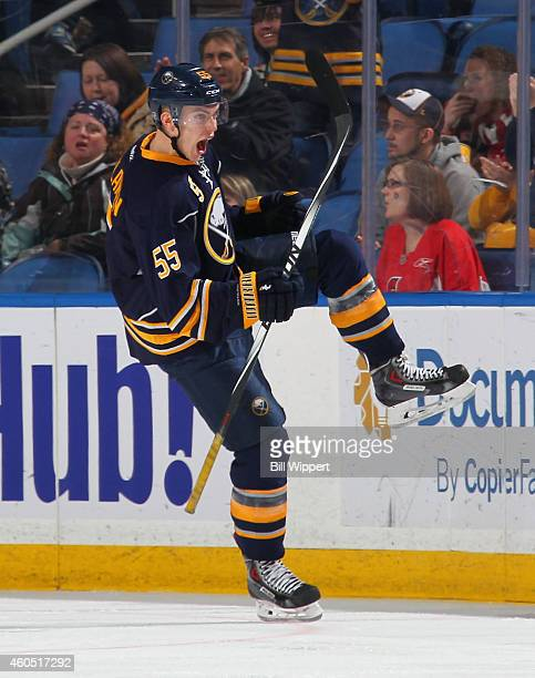 Rasmus Ristolainen of the Buffalo Sabres celebrates after scoring a second period goal against the Ottawa Senators on December 15 2014 at the First...