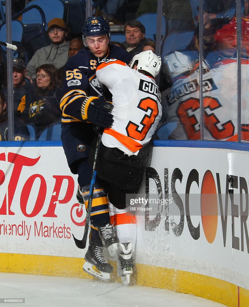 Rasmus Ristolainen #55 of the Buffalo Sabres checks Radko Gudas #3 of the Philadelphia Flyers during an NHL game at the KeyBank Center on March 7, 2017 in Buffalo, New York. The Flyers won, 6-3.