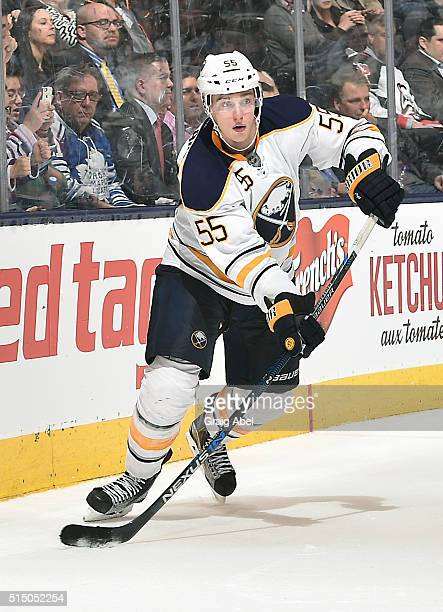 Rasmus Ristolainen of the Buffalo Sabres controls the puck against the Toronto Maple Leafs during game action on March 7 2016 at Air Canada Centre in...