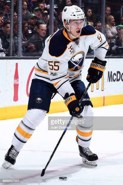 Rasmus Ristolainen of the Buffalo Sabres controls the puck during the game against the Los Angeles Kings on March 16 2017 at Staples Center in Los...