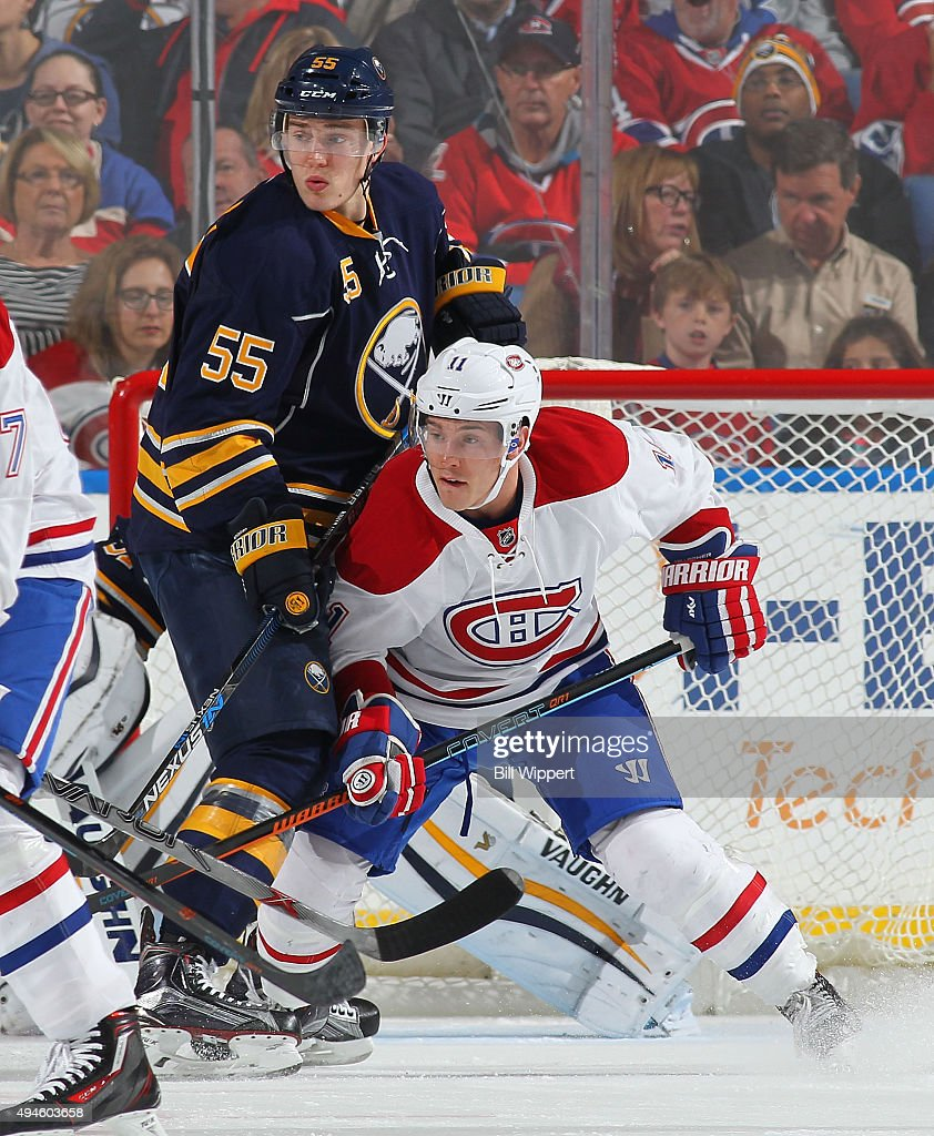 Rasmus Ristolainen of the Buffalo Sabres defends against Brendan
