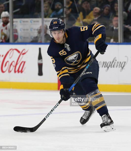 Rasmus Ristolainen of the Buffalo Sabres during the game against the Ottawa Senators at the KeyBank Center on December 12 2017 in Buffalo New York