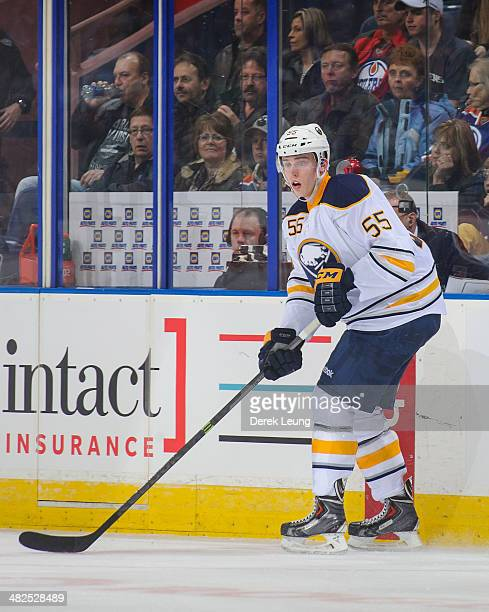 Rasmus Ristolainen of the Buffalo Sabres in action against the Edmonton Oilers during an NHL game at Rexall Place on March 20 2014 in Edmonton...