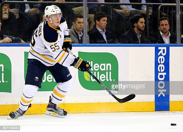 Rasmus Ristolainen of the Buffalo Sabres passes the puck against the New York Rangers at Madison Square Garden on January 25 2016 in New York City