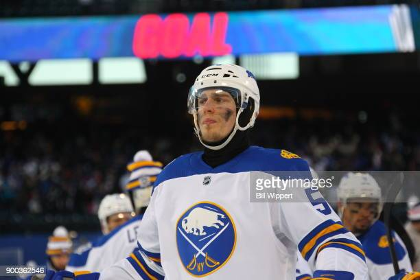 Rasmus Ristolainen of the Buffalo Sabres reacts after their 32 overtime loss to the New York Rangers during the 2018 Bridgestone NHL Winter Classic...