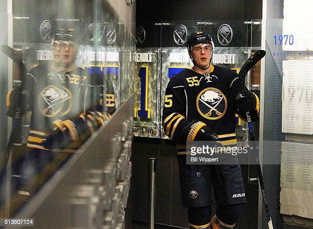 Rasmus Ristolainen of the Buffalo Sabres returns to the locker room before playing the Pittsburgh Penguins in an NHL game on February 21 2016 at the...