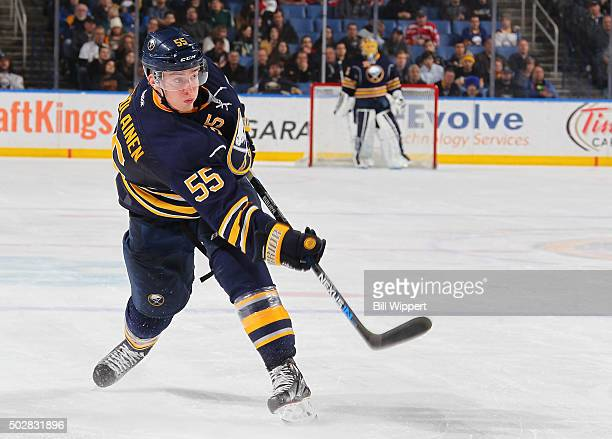 Rasmus Ristolainen of the Buffalo Sabres shoots the puck against the New Jersey Devils during an NHL game on December 15 2015 at the First Niagara...