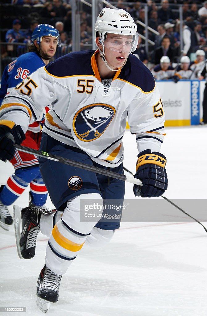 Rasmus Ristolainen #55 of the Buffalo Sabres skates against the New York Rangers at Madison Square Garden on October 31, 2013 in New York City.